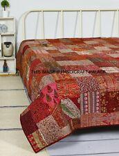 Vintage-Handmade-Patchwork-Quilt-Blanket-Bedspread-Bedding- Kantha-Quilt-Twin