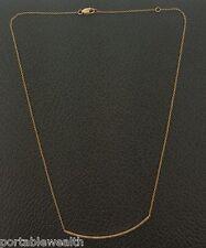 "Curve Diamond Bar Necklace 14K Rose Gold 17"""