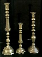 "Tall Brass Candlestick Holders  23"" 18"" 14""  Alter Floor Wedding Set of 3"