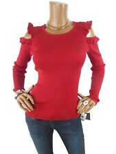 IZ BYER M NWT $48 SEXY Red Sweater Ruffle Cold Shoulder Long Sleeves Casual