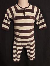 Babygap Baby Boy Long Sleeve Open Feet Velour Stripe Romper 6-12 Months