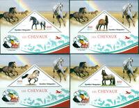 HORSES ANIMALS FAUNA CHARLES DARWIN MADAGASCAR 2019 MNH STAMP SET 4 SHEETS
