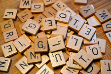 WOODEN SCRABBLE TILES CHOOSE YOUR OWN LETTERS FOR CRAFTS WOOD BLACK ALPHABETS-UK
