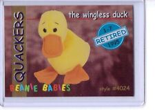 Ty S1 Series 1 Blue Retired *Quackers* The Wingless Duck Beanie Card Only 4024