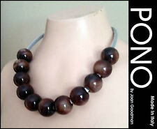 Necklace Signed New Made in Italy Pono Joan Goodman Brown Marble Resin Balls