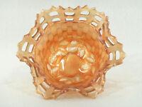 Fenton Marigold Carnival Glass BASKET WEAVE BOWL w/Open Ruffled Edge