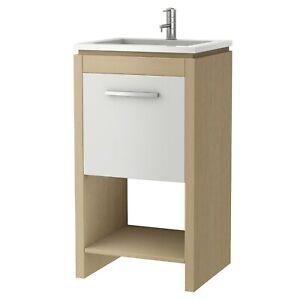 Croydex Bathroom Ceramic Basin Sink & Vanity Unit Cloakroom Floor Standing Wood