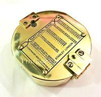 Antique Maritime Brass Brunton Compass Nautical Direction Brass Compass