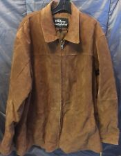 Harbour Wear BROWN Leather Jacket Lined Coat Mens XXL Zip Front Ships Free Euc