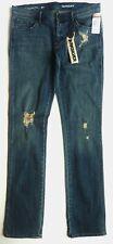 Womans QUIKSILVER Maritime BLUE Frayed Slim Straight Leg Jeans UK 26 £70