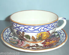 Gien Pivoines Peonies Breakfast Cup & Saucer Hand Painted w/Certificate New