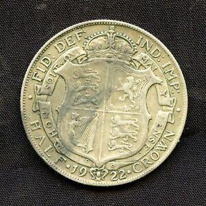 1922 Half Crown Coin King George V Great Britain UK Vintage Good