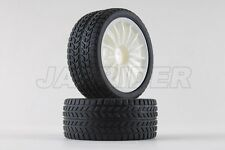 Jazrider 1/10 RC Touring Car 15-Spoke 24mm White Wheel (2pcs) w/Radial Tires(B)