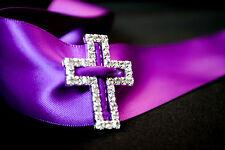 SILVER DIAMANTE Cross Buckle Slider 28mm x 34mm sash/belt/ribbon/wedding