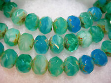 25 8x6mm Reflecting Pool - Aqua, Teal Blend Czech Glass Picasso Rondelle beads