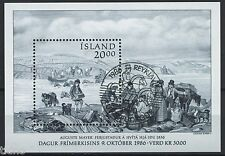 Iceland 1986, MS canceled first day of issue CTO with gum