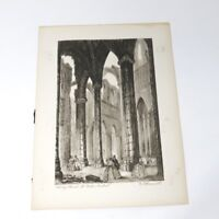 Vintage Black Etching Print Abbey Church St Bertin England Signed Ellsworth