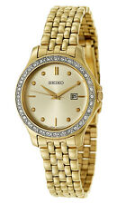 SQNP SXDF92P9 Seiko Ladies Swarovski Gold Plated Bracelet Watch