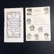 Menu 1921 Orné De Découpais D'enfants Et 1914 Sur Eau Forte