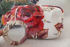 Cath Kidston Jacquard Rose Print Box Cosmetic Make-Up Bag With Mirror BNWT Cream