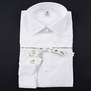 Luigi Borrelli Napoli Slim-Fit White Stretch Poplin Cotton Dress Shirt 18