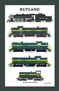 "Rutland Locomotives 11""x17"" Poster in 12"" x 18"" mat Andy Fletcher signed"