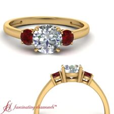 3/4 Carat Round Cut Diamond And Ruby Three Stone 18K Yellow Gold Engagement Ring