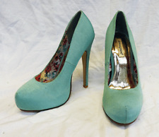 Pair Aqua / Mint Ribbed Satin Finish Stilleto Heel Shoes - UNWORN  UK 5 EU 38