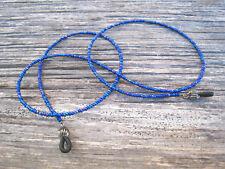 Blue Seed Beads Eyeglass Sunglass Chain Holder Beaded Lanyard Necklace Handmade