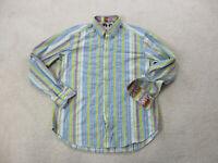Robert Graham Button Up Shirt Adult Large Yellow Blue Striped Flip Cuff Mens *