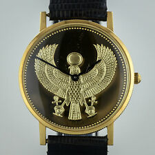 18K Gold Egyptian Golden Falcon, Franklin Mint, Swiss Watch