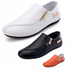 Men's Breathable Sneakers Leather Casual Shoes Slip on Loafers Zip Recreational