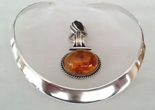 """Slider 925 Silver Omega choker collar necklace with 1.2"""" Amber Stone Pendant"""