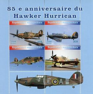Madagascar Military Aviation Stamps 2020 MNH Hawker Hurricane Aircraft 4v M/S
