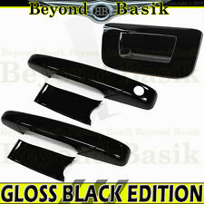 2007-2013 Silverado Reg/Ext Cab GLOSS BLACK Door Handle Covers+Tailgate no KH