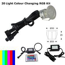 20 x 30mm LED Deck/decking lights Multicolor RGB Colour Changing  - Floor Lights