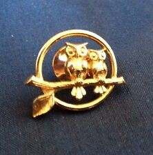 Vintage Owl Head Pin, Bar Pin & Owls On Branch Clutch Goldtone  3 Pieces