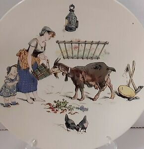 Antique Sarreguemines Story Plate Froment Richard Faience Pottery