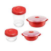 8pc MICROWAVE POT Food Bowl STORAGE CONTAINER Vented Microwavable Pots RED