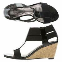 DexFlex Comfort Ladies Black Sandals Elastic Patent Straps Wedge Heel Size 12