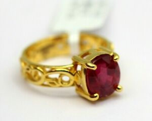 4.14 Ct Ruby Natural Gemstone Ring for Women Yellow Gold 18K Fine Jewelry Size 7