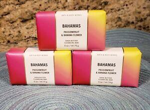 BATH & BODY WORKS BAHAMAS PASSIONFRUIT BANANA FLOWER BAR SOAPS X 3 NEW SEALED