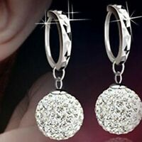 Women Fashion Silver Full Crystal Ball Drop/Dangle Jewelry Earrings