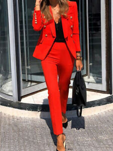 Tailleur elegante ufficio completo donna rosso elegante  giacca pantalone  4936