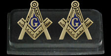 Masonic Square Gold Plated Cuff Links - with Austrian Crystals