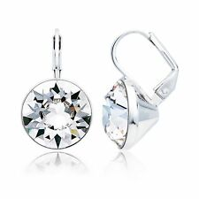 MYJS Bella Statement Earrings with Clear Swarovski Crystal Rhodium Plated