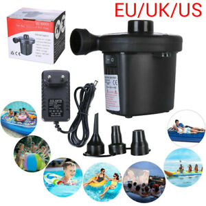 Electric Air Pump Tools Inflator Inflatable Camping Bed Pool 3 Nozzles Plug