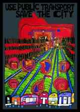 Hundertwasser Save the city Poster Bild Kunstdruck im Alu Rahmen schwarz 59x84cm
