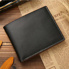 Mens Genuine Leather Bifold Wallet Credit/id Card Holder Slim Coin Purse L Black