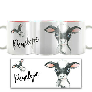 Personalised Mug, Customised with Name, Animal/Cow/Bunny White & Red Cup (11oz)